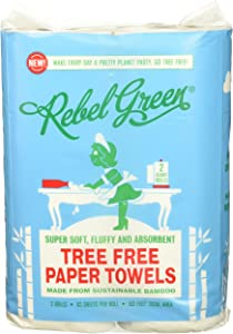 Rebel Green Tree Free Bamboo Paper Towels, 4 Giant Rolls, Eco Friendly Carbon Neutral Paper Towels