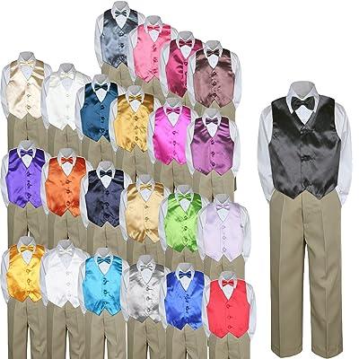 4pc Baby Toddler Kid Boy Party Suit KHAKI Pants Shirt Vest Bow tie Set 5-7