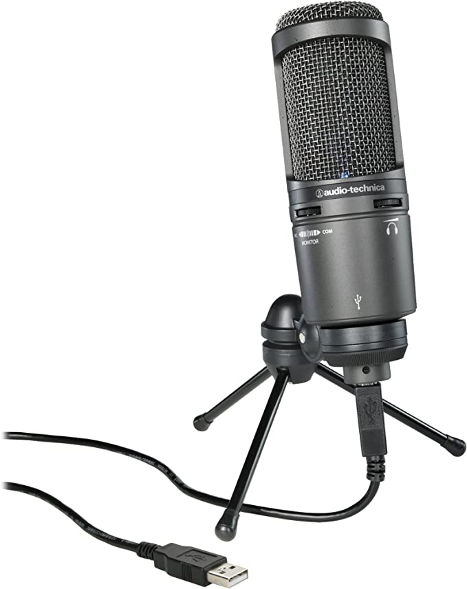 Amazon.com: Audio-Technica AT2020USB+ Cardioid Condenser USB Microphone, Black, With Built-In Headphone Jack & Volume Control: Musical Instruments