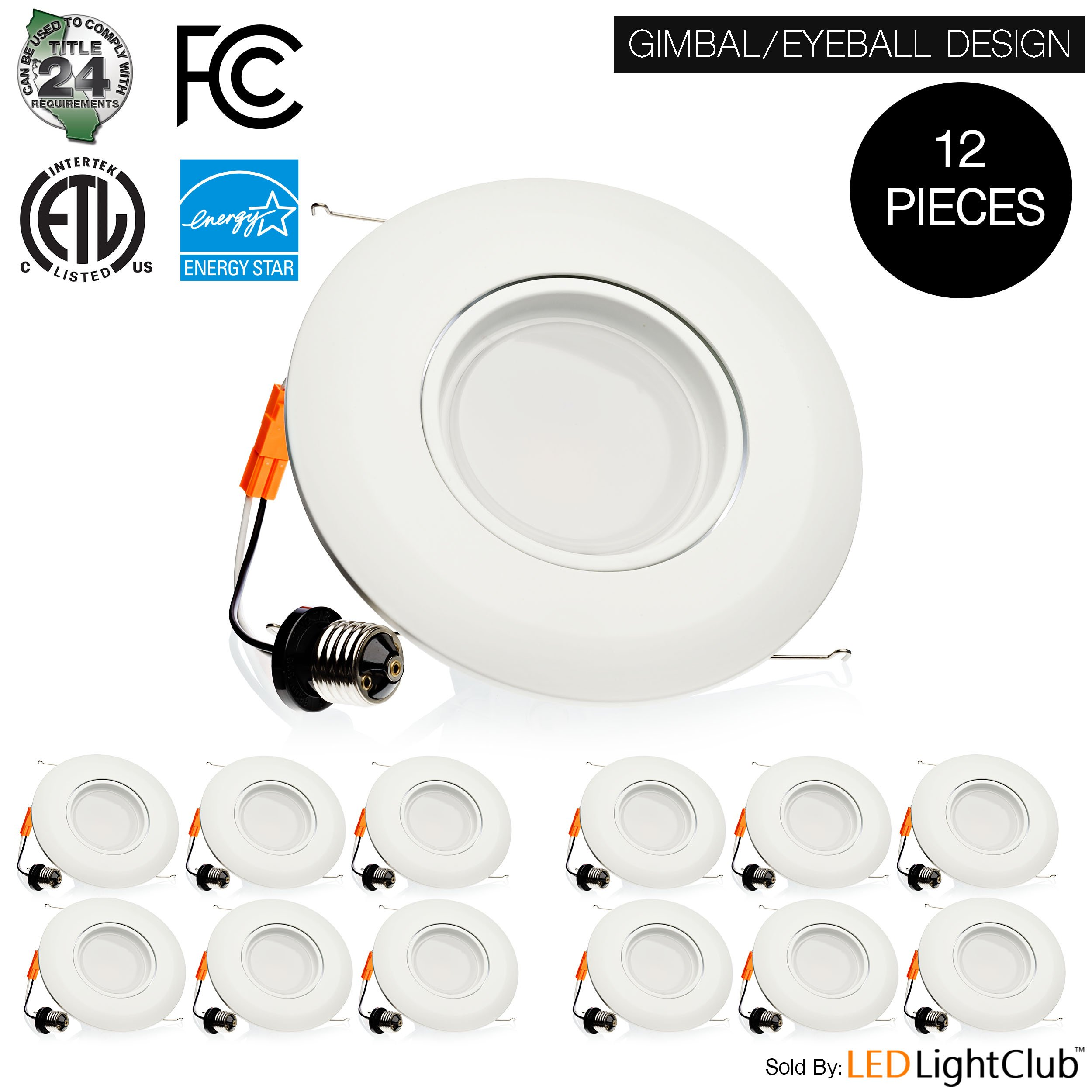 (12-Pack) 6-inch LED Adjustable Gimbal Downlight, Dimmable, 15W (120W Replacement), Rotatable Eyeball Retrofit Recessed Trim, 5000K (Day Light), 1060LM, ENERGY STAR & ETL-Listed by Parmida LED Technologies