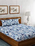 haus & kinder Red & White Contemporary Collection, 100% Cotton, 144 Thread Count, Double Bedsheet with 2 Pillow Covers (Blues Hues)