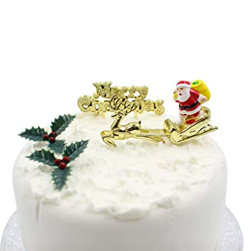 Christmas Cake Decorations.Merry Christmas Cake Decorations Yule Log Cupcake Toppers Santa On Sleigh With Reindeer Merry Christmas Sign 2 X Holly Leaves Berries