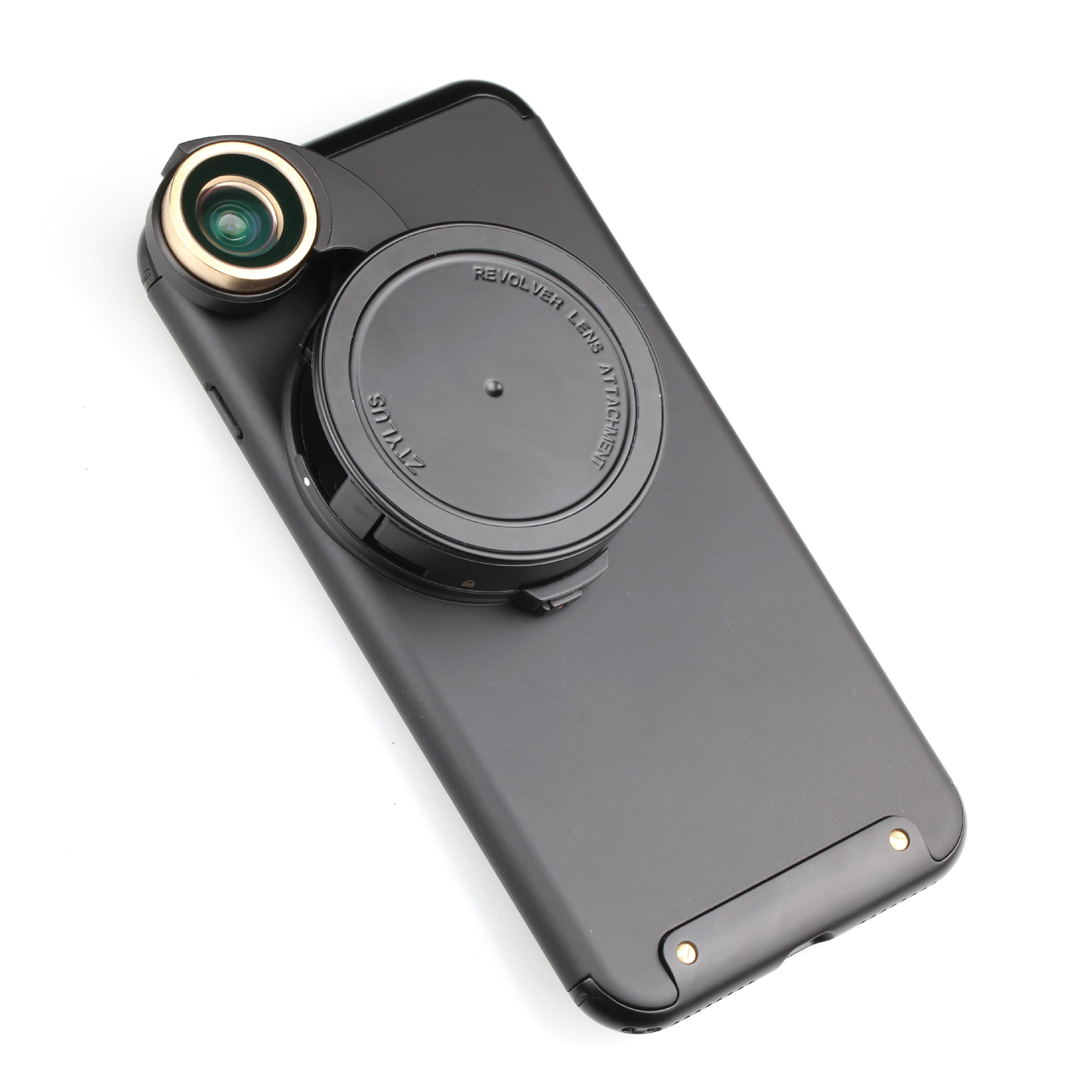 Ztylus 4-in-1 Revolver Lens Smartphone Camera Kit for Apple iPhone 7 Plus: Super Wide Angle, Macro, Fisheye, CPL, Protective Case, Phone Camera, Photo Video (Black) by Ztylus