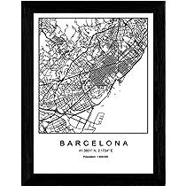 Nacnic Lámina Mapa de la Ciudad Barcelona Estilo nordico en Blanco ...