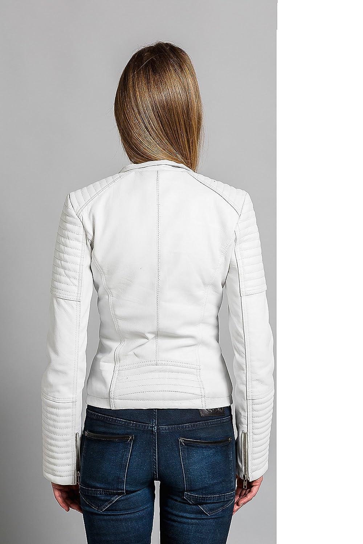 Talla 3XL Blanco Urban Leather UR-304 Sylvia Fashion Chaquetas de Cuero para Dama
