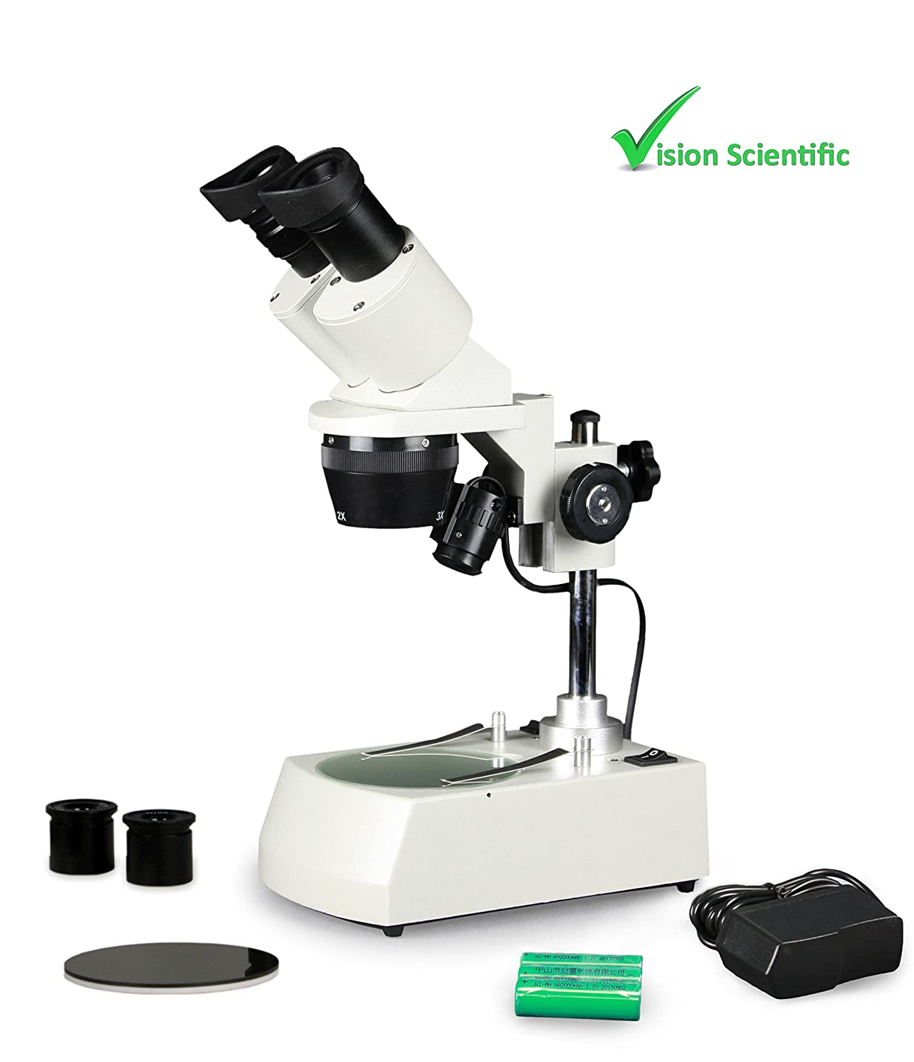 10x Vision Scientific VMS0002-RC-123-ES2 Tri-Power Binocular Stereo Microscope Cordless 1x Pair of 10x and Pair of 20x WF Eyepieces 20x 60x Magnification 30x 2xand 3X Objectives 40x