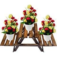 WOOD BOSS Wooden Multipurpose Folding Rack | Plant Stand with 3 Decks | Living Room Side Stand/Wooden Stool/Flower Pot Stand | Vase Stand | Foot Rack