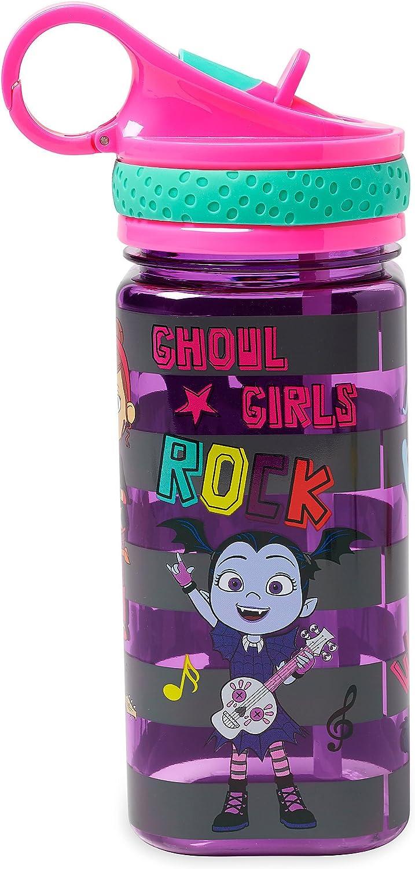Disney Vampirina - Botella de agua con pajita integrada, sin color