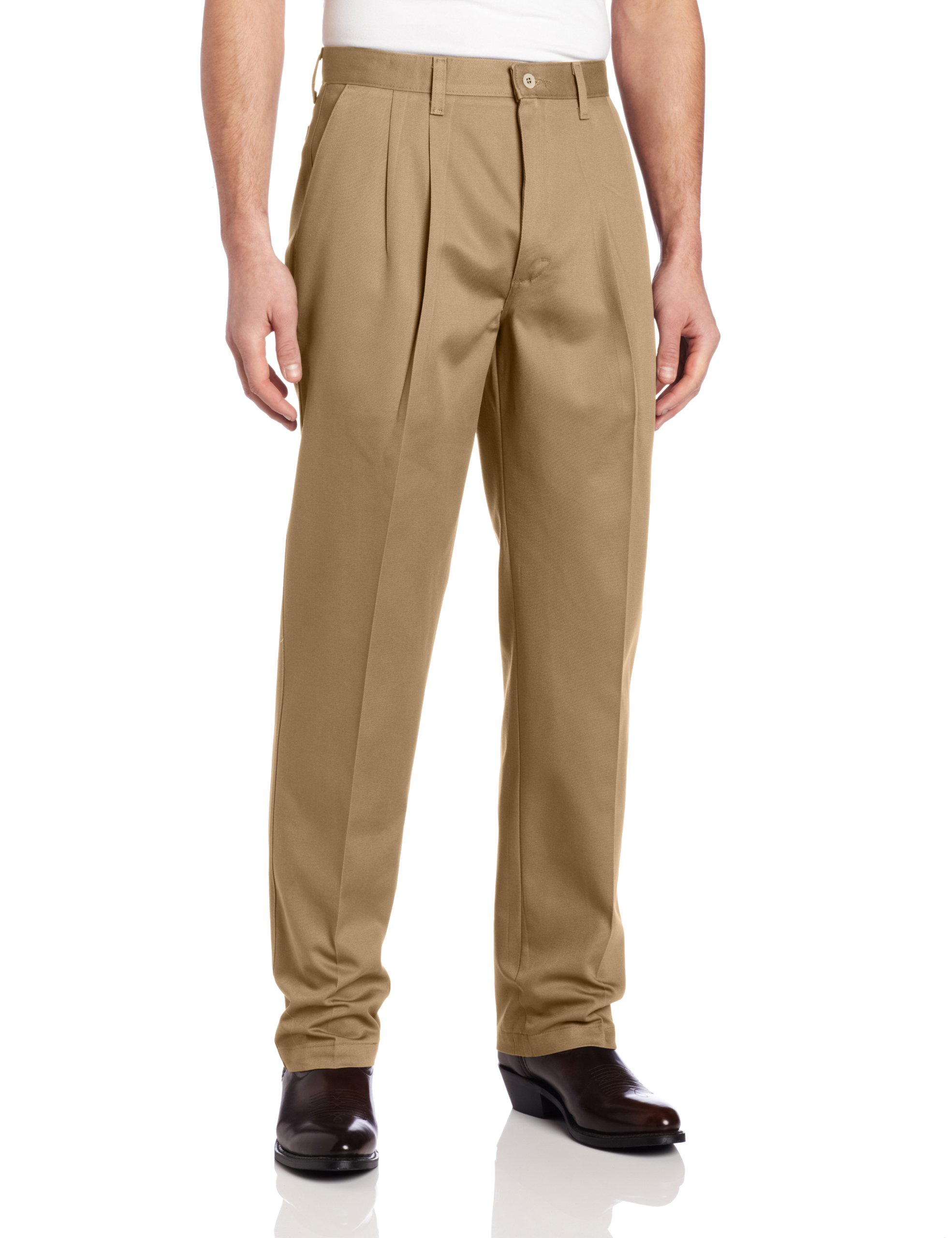 Wrangler Men's Riata Pleated Relaxed Fit Casual Pant, Goldenrod, 35x36
