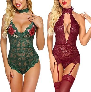 flirty lace trimmed teddy romper Size SM. Deep green lingerie romper
