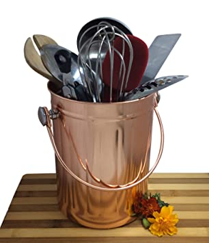 Utensil Holder Caddy Crock To Organize Kitchen Tools   Copper Kitchen  Accessories U2013 Large 1 Gallon