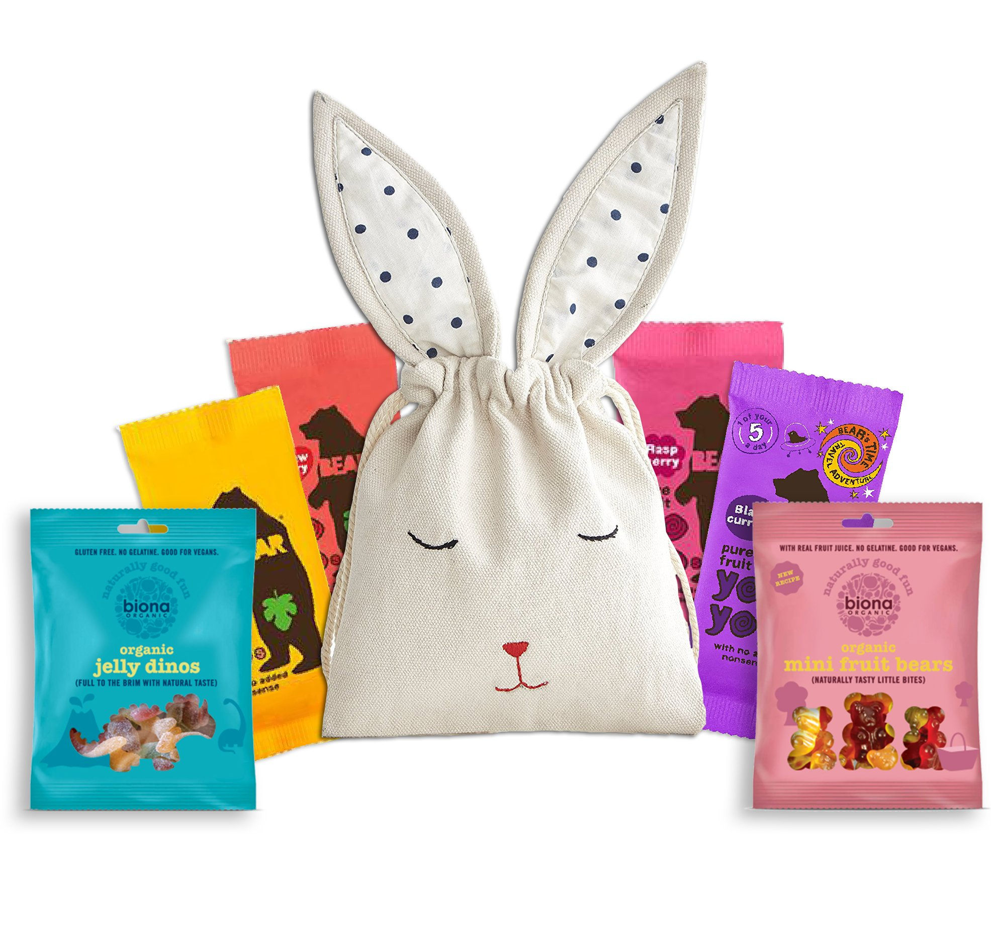Bear Fruit Yoyo Healthy Snack 5 pieces by The Yummy Palette | vegan kids hamper vegan sweets healthy snacks in cute Hand embroidered Bunny Bag by The Yummy Palette