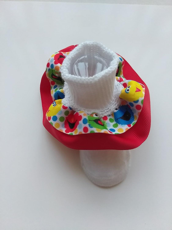 Elmo Ruffle socks, Sesame inspired ruffle socks, Sesame Street inspired hair bow
