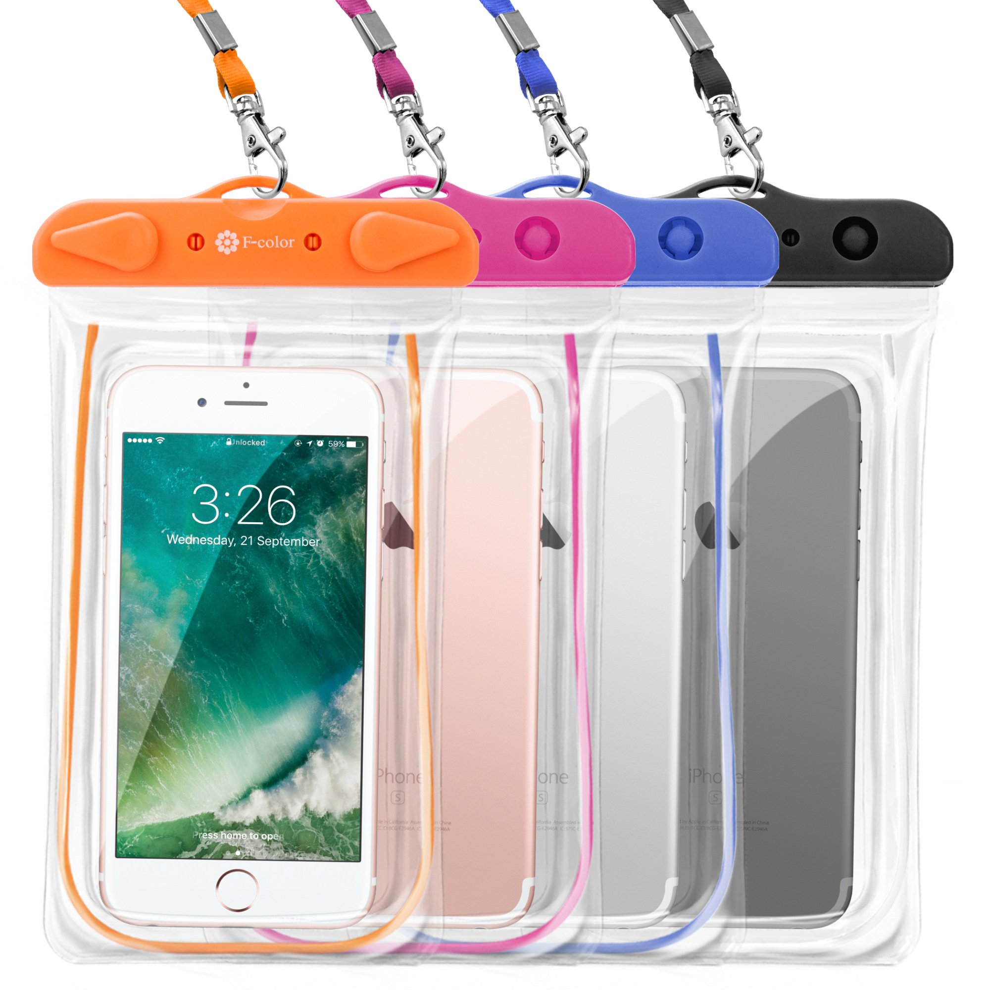 F-color Waterproof Case, 4 Pack Floating Clear Waterproof Phone Pouch TPU Dry Case Compatible iPhone X 8 7 7 Plus Home Button for iPhone, Google Pixel, Samsung, HTC, LG, Blue Black Orange Pink by F-color