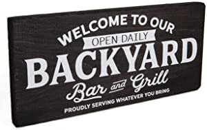 Backyard Decor - Outdoor Decorations for Deck, Patio, Pool, or Home Bar - Wood Signs and Accessories for BBQ Parties