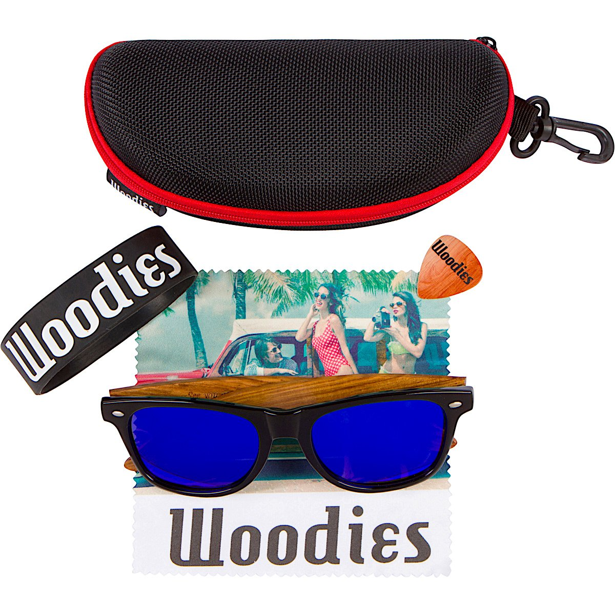 Woodies Zebra Wood Sunglasses with Blue Mirror Polarized Lens