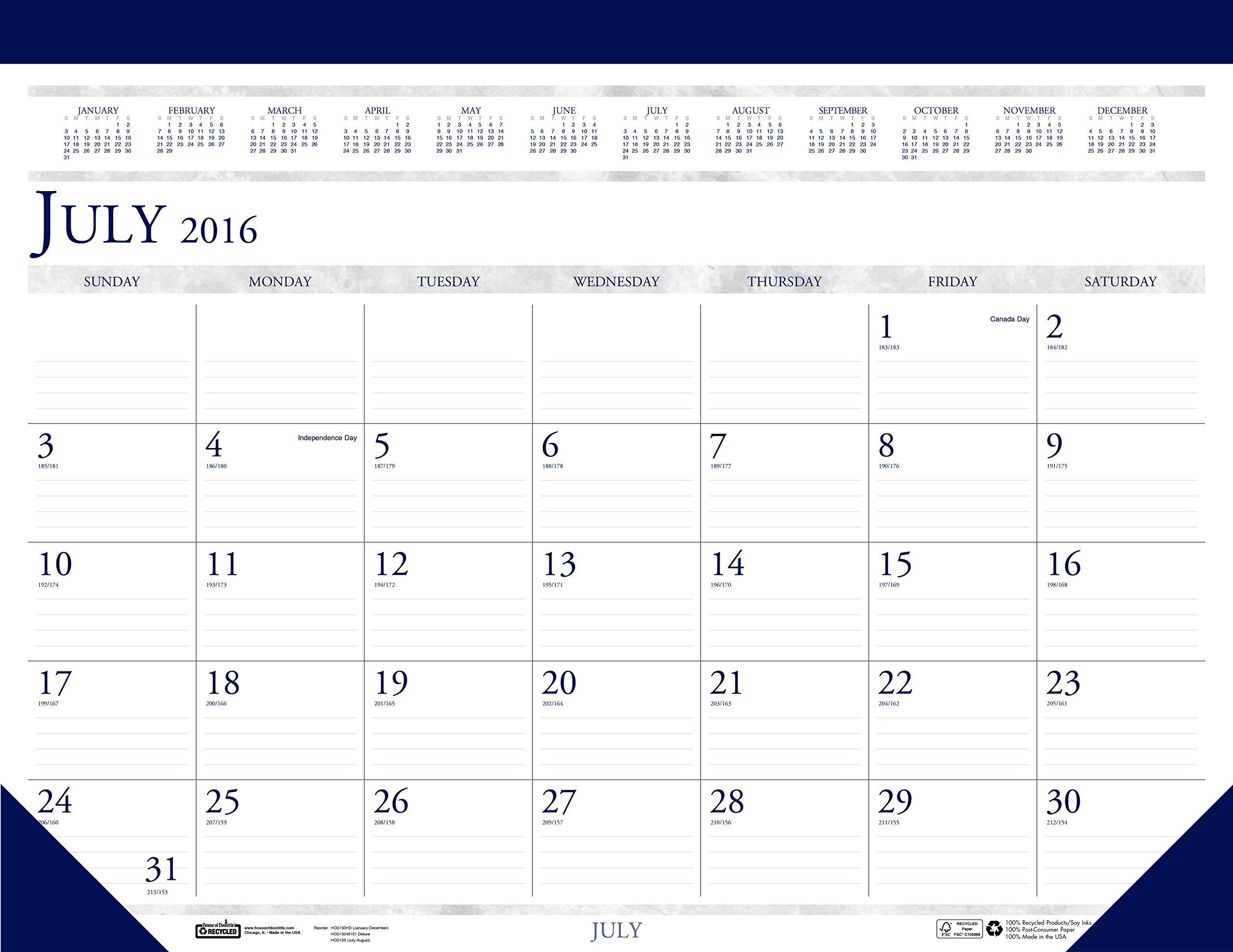 House of Doolittle 2016-2017 Monthly Desk Pad Calendar, Academic, Classic, 22 x 17'' (HOD155-17)
