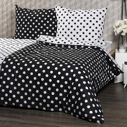 4Home 205848 Cama (algodón Negro Punto, algodón, Black/White, 200 ...