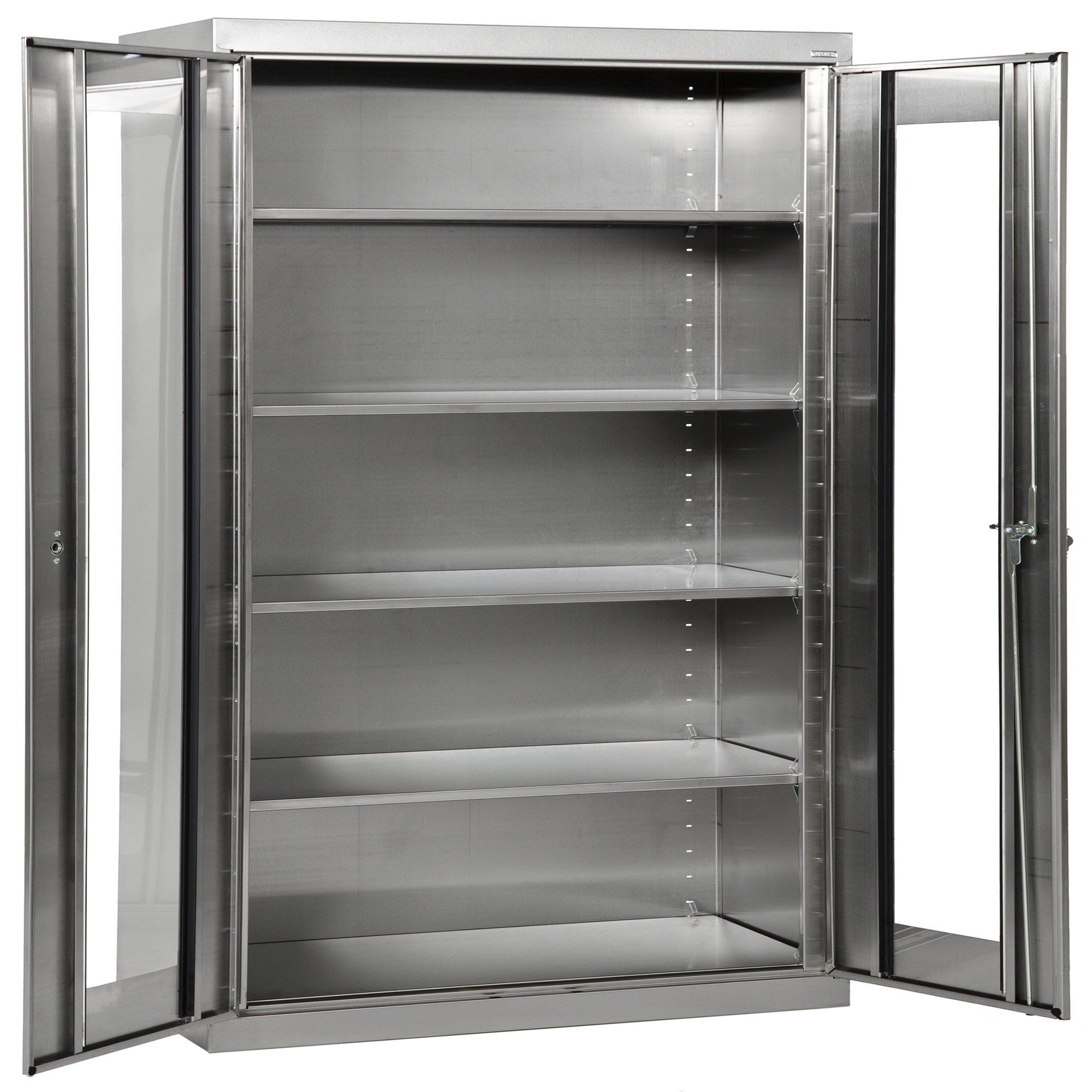 Sandusky SA4V482478-XX Stainless Steel Clear View Storage Cabinet, 4 Adjustable Shelves, 400 lb. Per Shelf Capacity, 78'' Height x 48'' Width x 24'' Depth