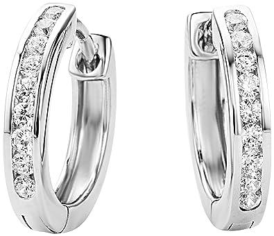 Miore Earrings Women Hoops Brilliant Cut Zirconia 925 Sterling Silver UDXwNWuO