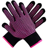 Teenitor 2 Pcs Heat Resistant Gloves with Silicone Bumps, (New Upgraded ) Professional Heat Proof Glove Mitts for Hair…