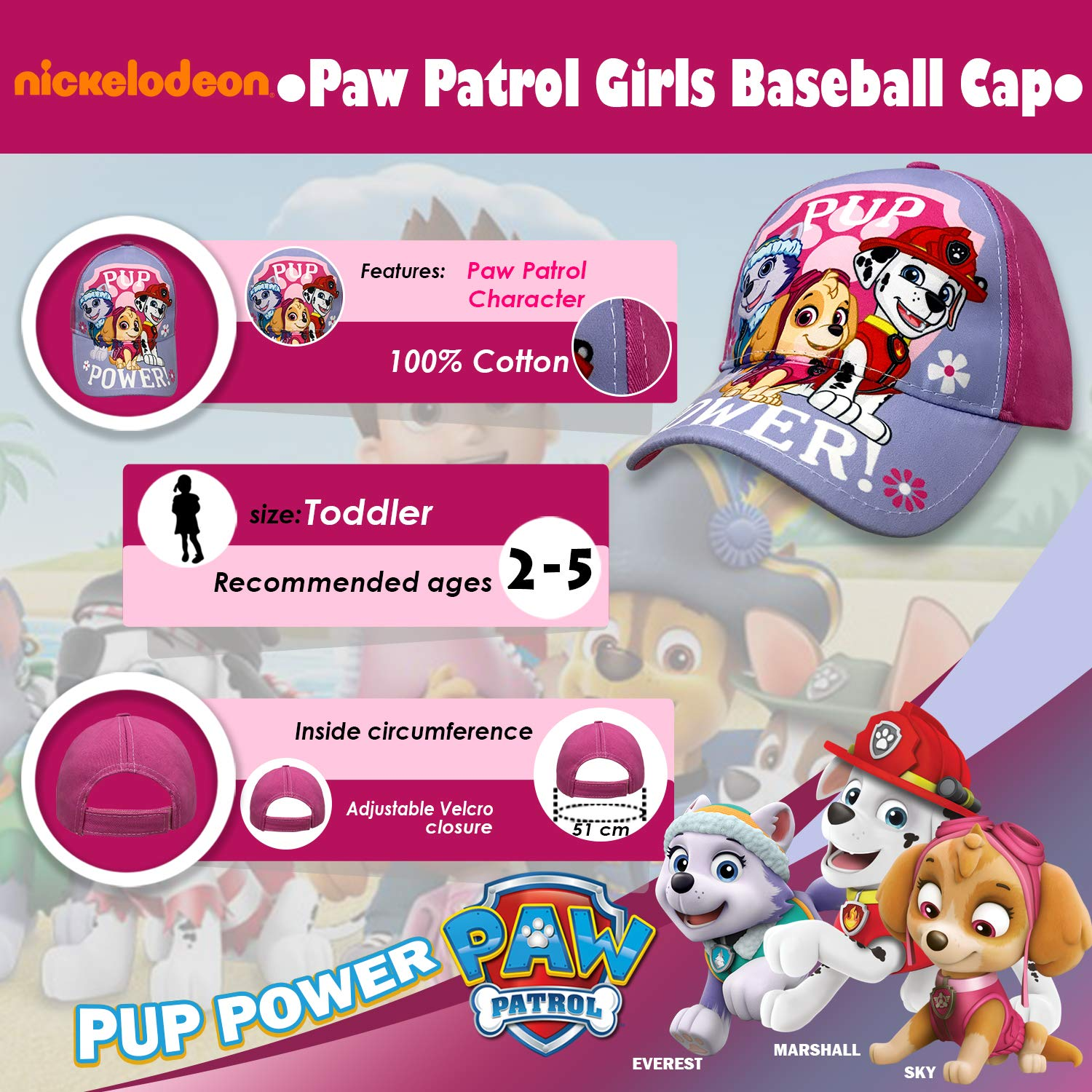cc79d82056d Amazon.com  Nickelodeon Paw Patrol Little Girls Baseball Cap Age 2-5 Pink   Clothing