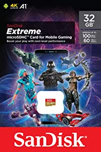 SanDisk Extreme 32GB MicroSD Card for Mobile Gaming, with A2 App Performance, Supports AAA/3D/VR Game Graphics and 4K UHD Video, 100MB/s Read Class 10, UHS-I, U3, V30 (SDSQXAF-032G-GN6GN)