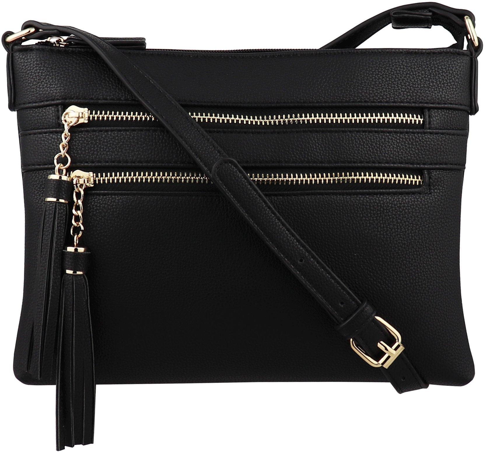 B BRENTANO Vegan Multi-Zipper Crossbody Handbag Purse with Tassel Accents (Black 1)