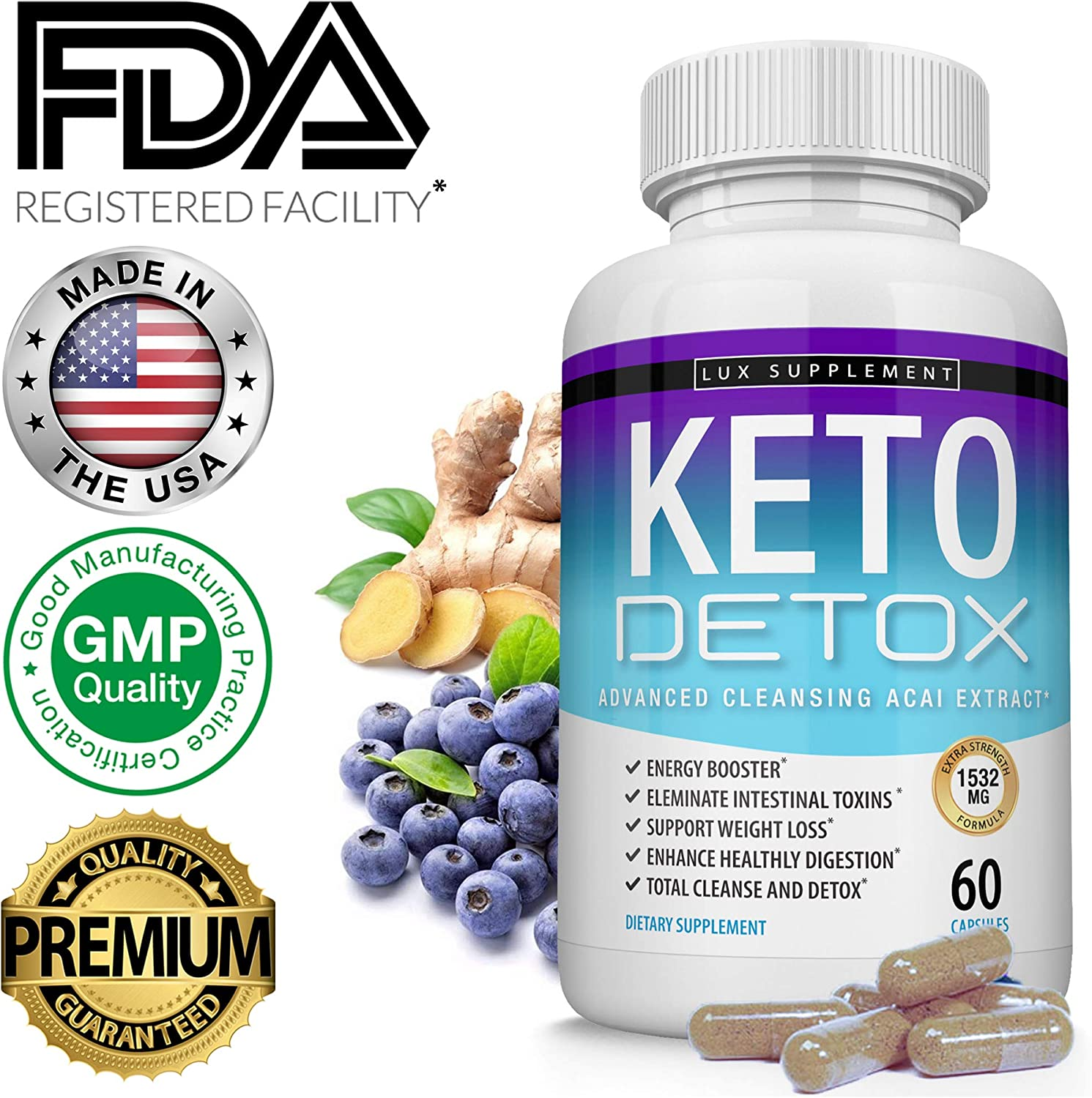 Keto Detox Pills Advanced Cleansing Extract 1532 Mg Natural Acai Colon Cleanser Formula Using Ketosis Ketogenic Diet, Flush Toxins Excess Waste, for Men Women, 60 Capsules, Lux Supplement