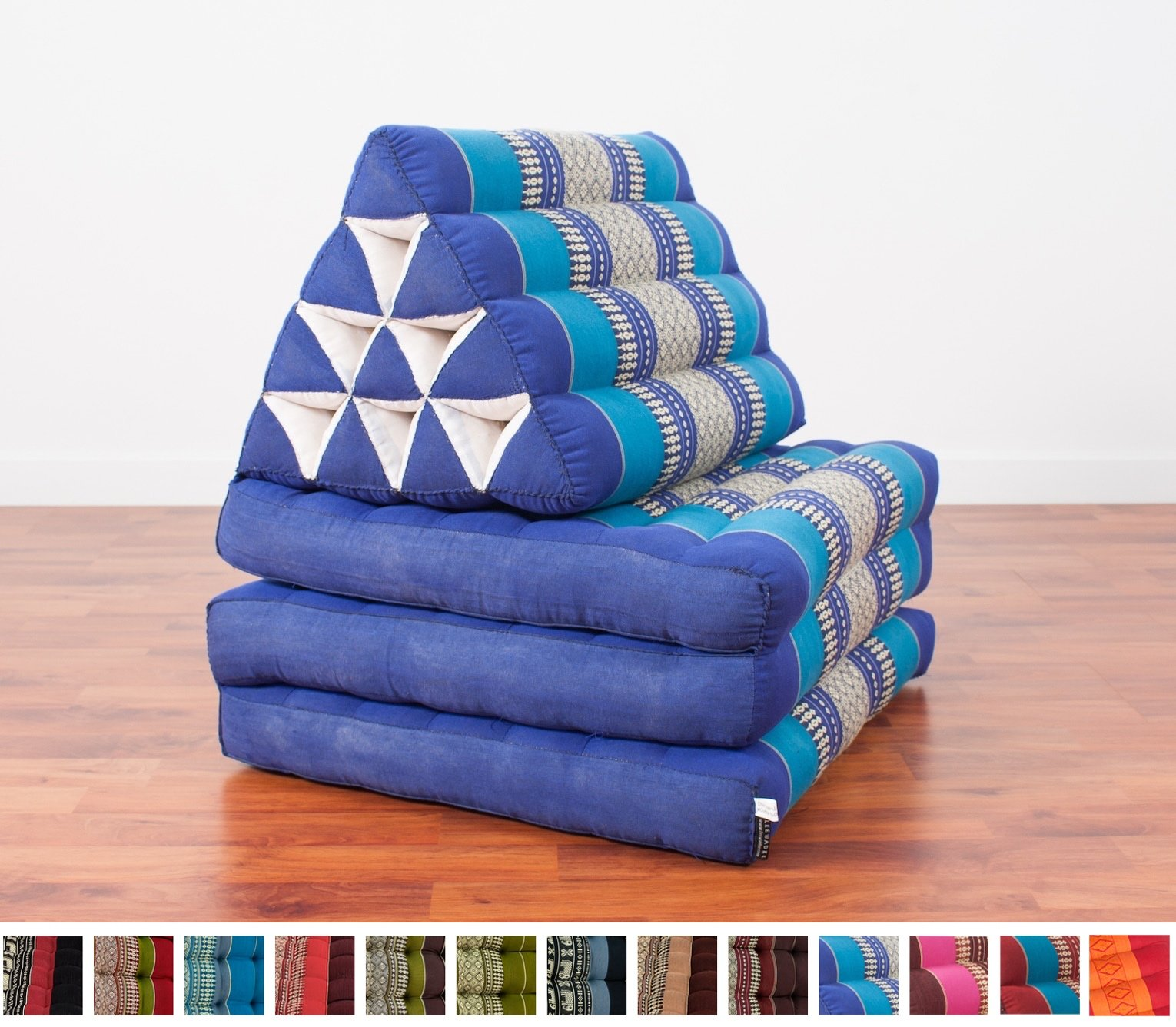 Foldout Triangle Thai Cushion, 67x21x3 inches, Kapok Fabric, Blue by Leewadee