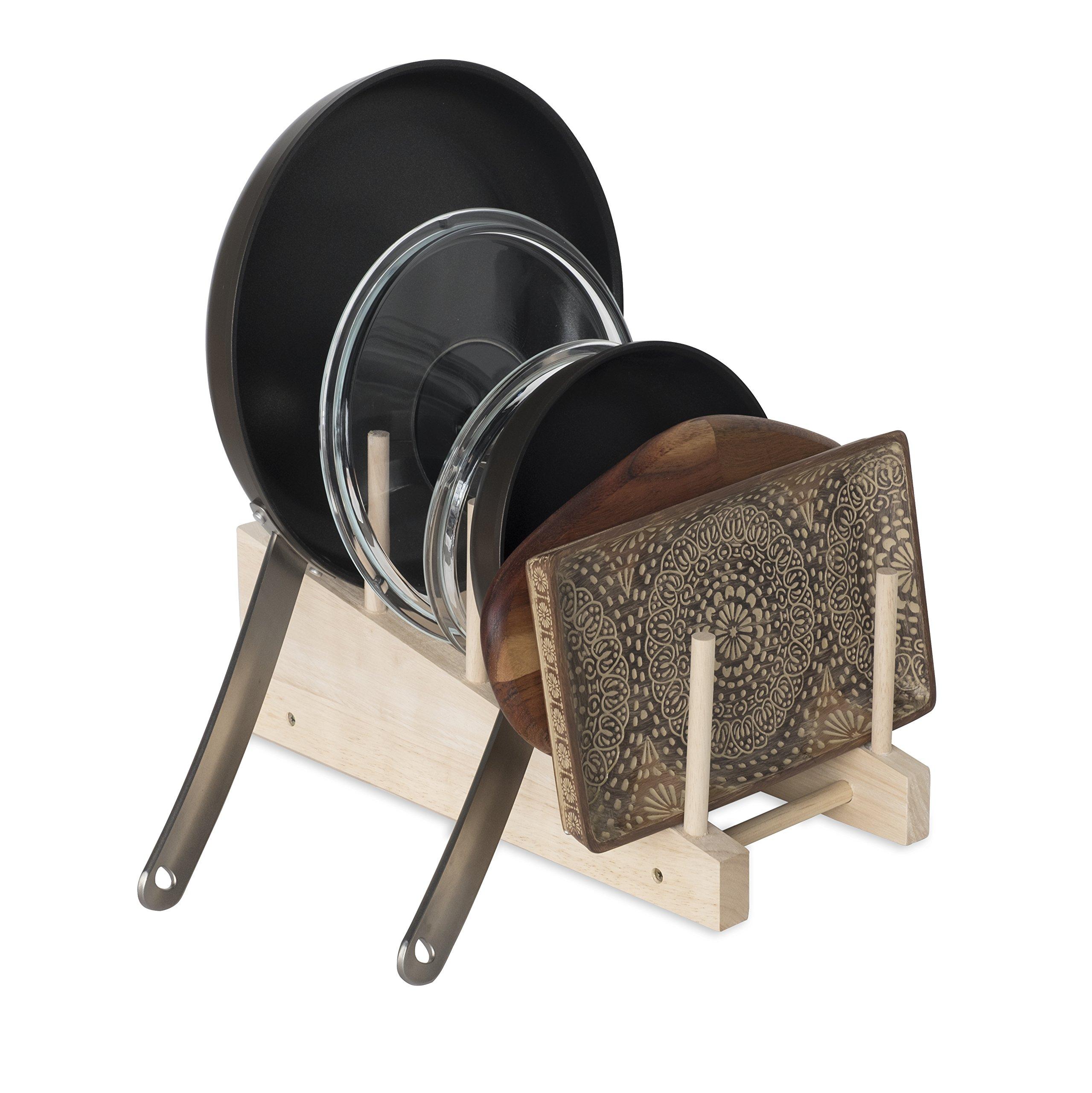 Brightmaison Free-Standing Wooden Cookware Cutting Board 4-Slot Kitchen Storage Countertop Pan Pot Lid Organizer Rack Black (Natural)