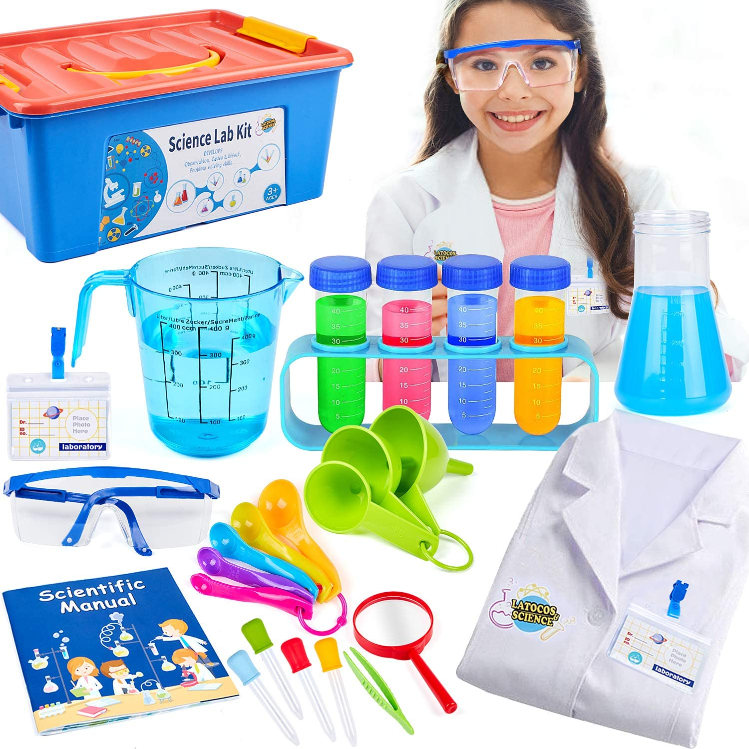 Science Kit with Lab Coat Science Experiment Scientist Costume Dress Up Role Play Toys Set Birthday Gift for Kids Girls Boys 3-11Years Old