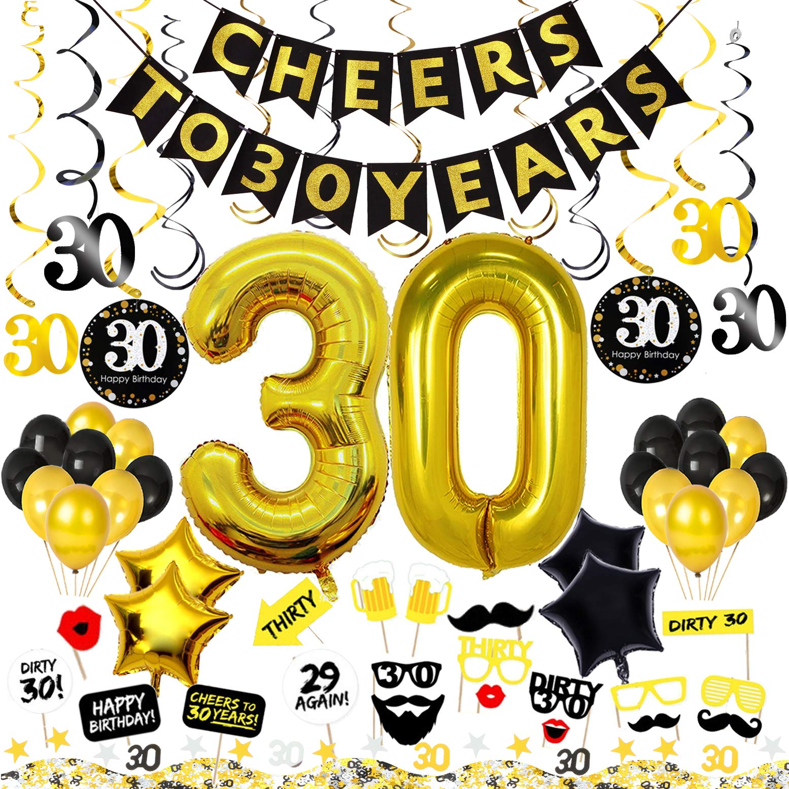30th Birthday Decorations Kit 75 Pieces C Happy Banner 40