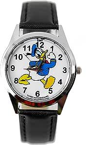 taport® Reloj de cuarzo Disney pato Donald negro piel banda + libre batería de repuesto + libre bolsa de regalo
