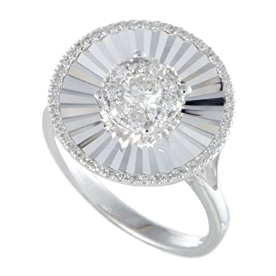 130e29974e3 Image Unavailable. Image not available for. Color  Luxury Bazaar 14K White Gold  Diamond Round Ring