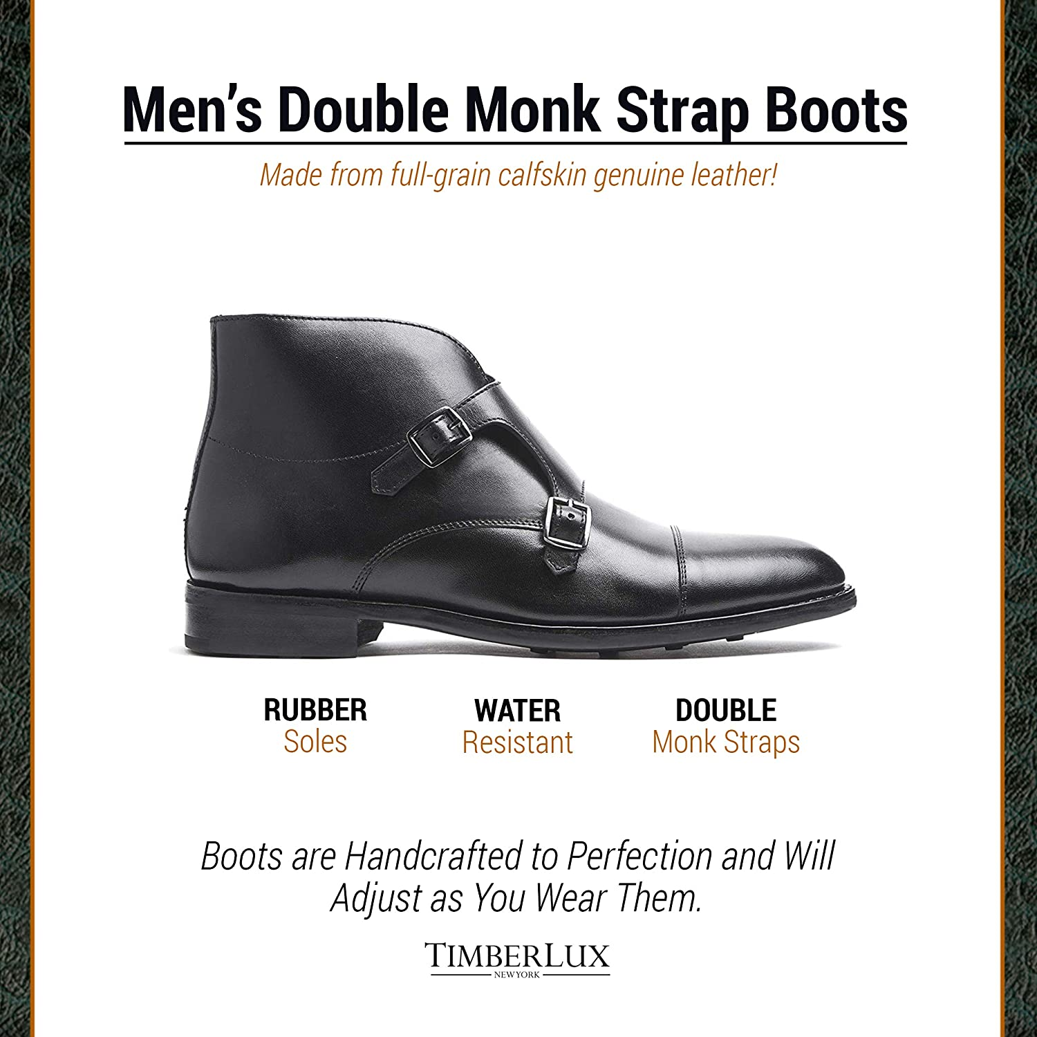 0256919d4a5 Timberlux New York Mens Double Monk Strap Boots, Black Dress Shoes for Men