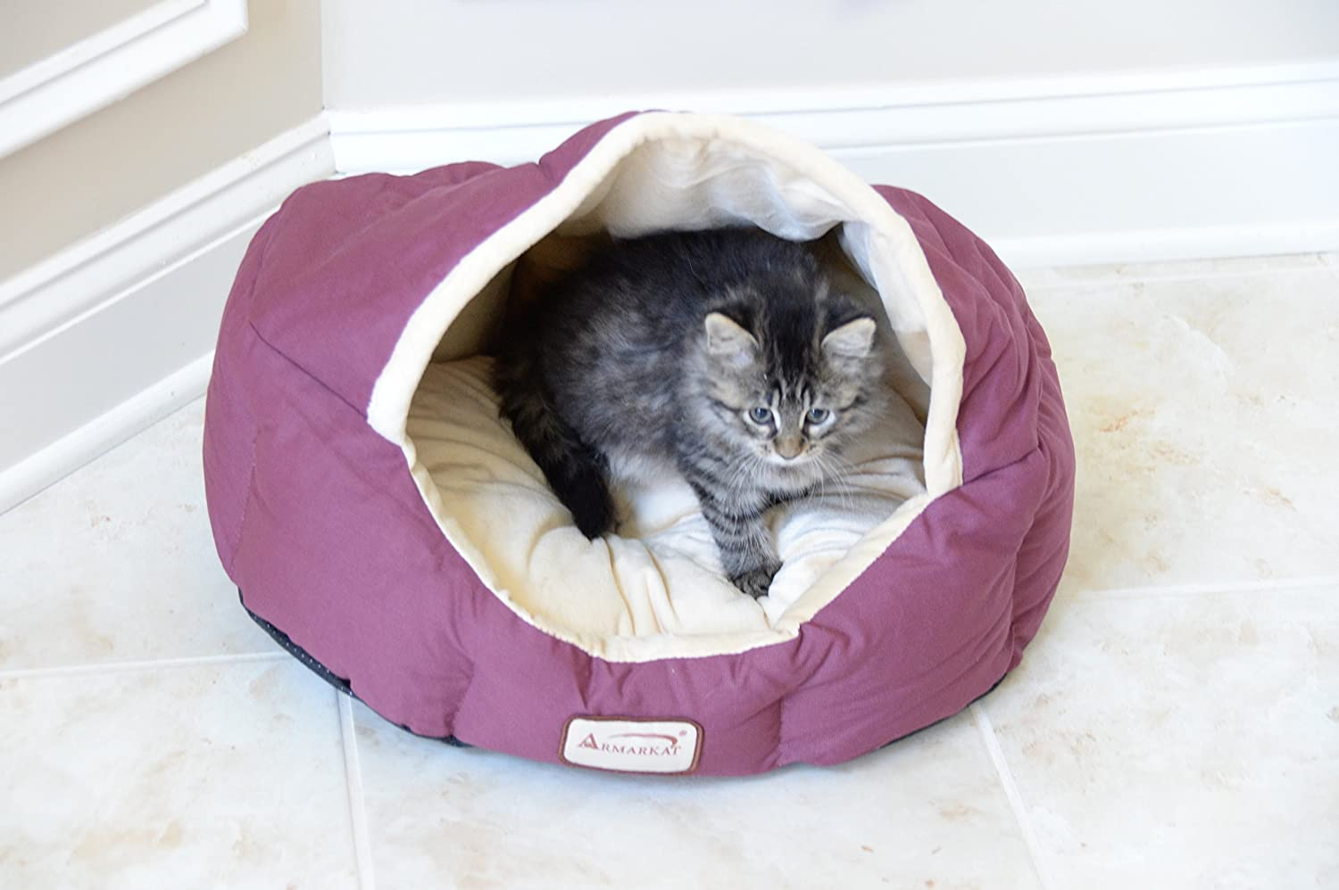 Armarkat Cat Bed C15HKF/MH Mocha and Beige AeroMark International Inc.