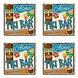 Ambesonne Tiki Bar Coaster Set of Four, Rusty