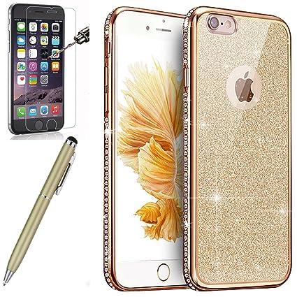 Kompatibel mit iPhone SE Hülle,iPhone 5S/5 Hülle,[Hartglas Schutzfolie Stylus] Strass Diamant Bling Glitzer Überzug TPU Silik