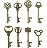 Makhry Assorted 16 Antique Copper Key Shaped Bottle Openers Copper Wedding Party Favors Rustic Decoration (Bronze)