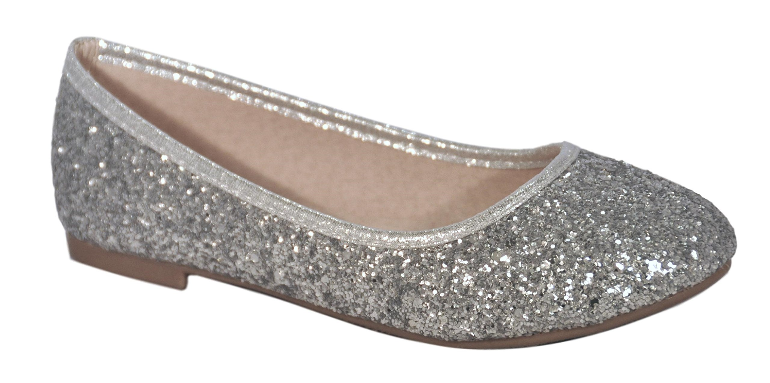 Clearance Sale Silver Metallic Elegant Sparkle Wedding Dress Shoe for Girl Wide Comfortable Prime Glitter Cute Zapatos Bonitos para Ninas Cheap Youth Kid Girl Flat Slip On (Size 9, Silver)