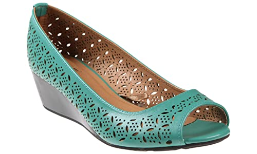 cedc401d066 Capelli New York Perforated Faux Leather Peep Toe Ladies Wedge Shoes