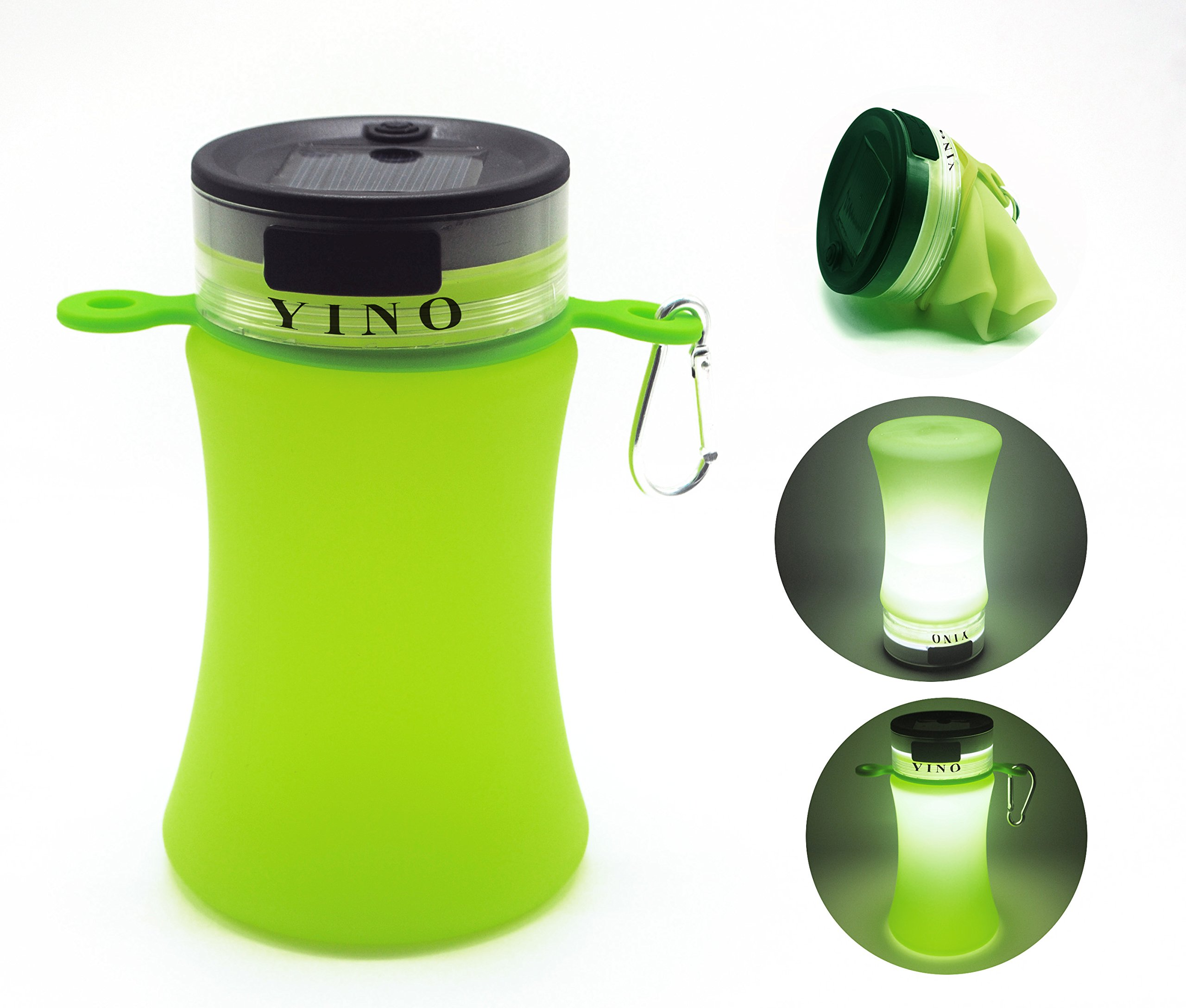 YINO Collapsible Silicon Water Bottle,550ml Water Cup with 3 Modes Battery Emergency Light,Solar Charge Waterproof LED Lantern for Home Lamp,Power Outage,Camping,Hiking,Outdoor Emergency (Green)