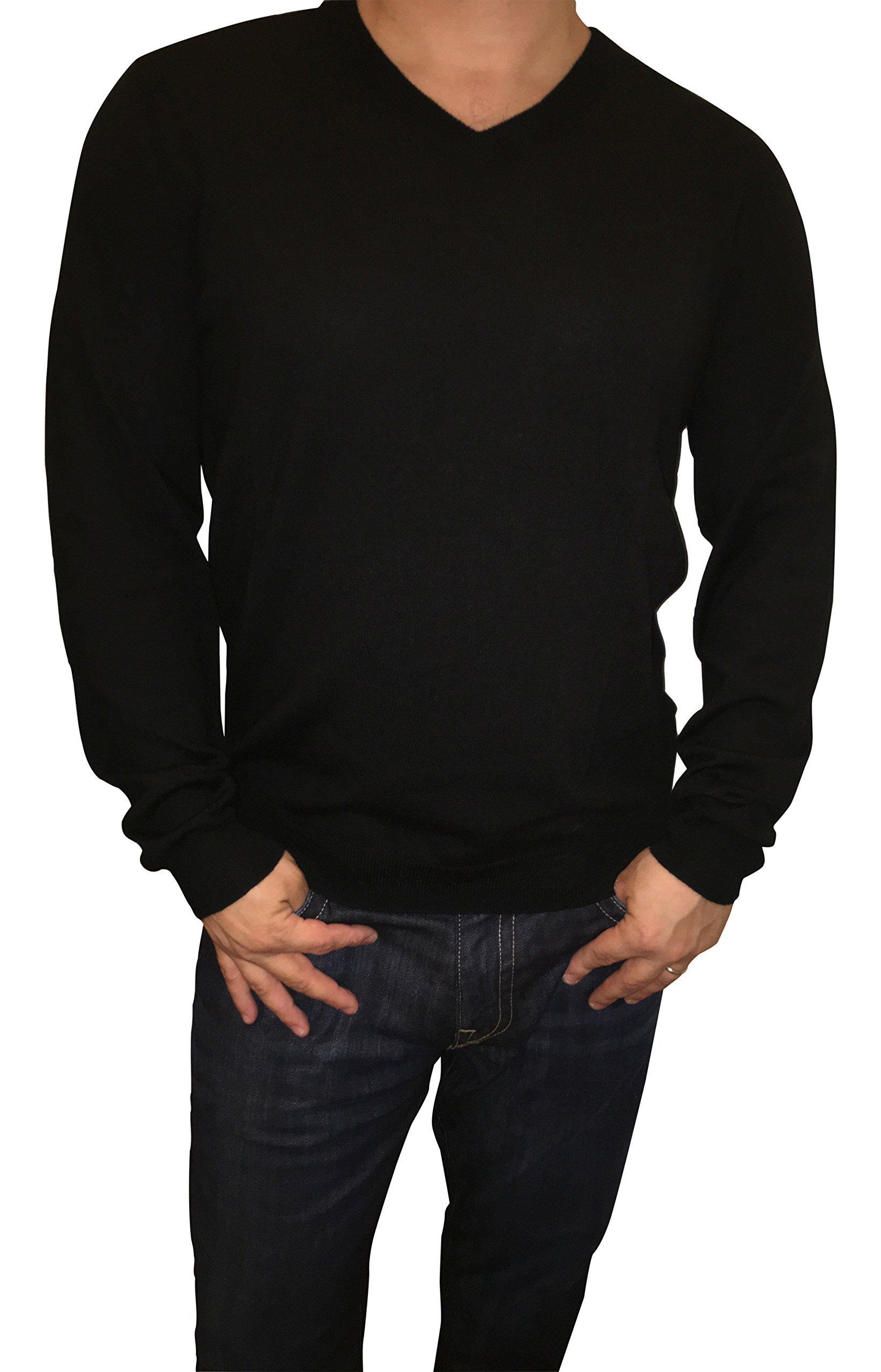 Calvin Klein Men's Extra Fine Merino Wool V-Neck Sweater (XXL, Black)