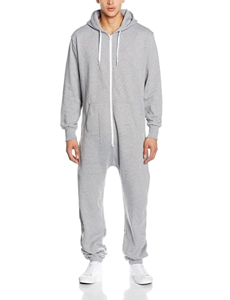 Mens One Piece Gray Zipper Hoodie Onesie Casual Fashion Jumpsuit 67bd61687