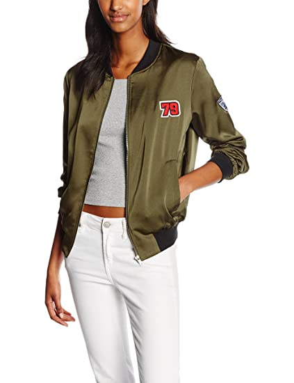 Khaki New Bomber 44 Blouson Look Badged dark Sateen Green Femme 8qrA8UR