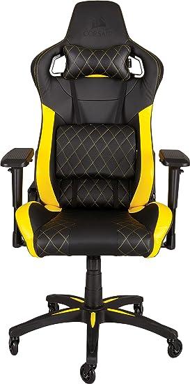 Corsair T1 Race - Silla para juegos acolchada, con respaldo alto, color negro y