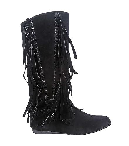 Women Mid-High Flat Boots Moccasins Style Zipper Closure Fringes Décor Faux Suede (5.5