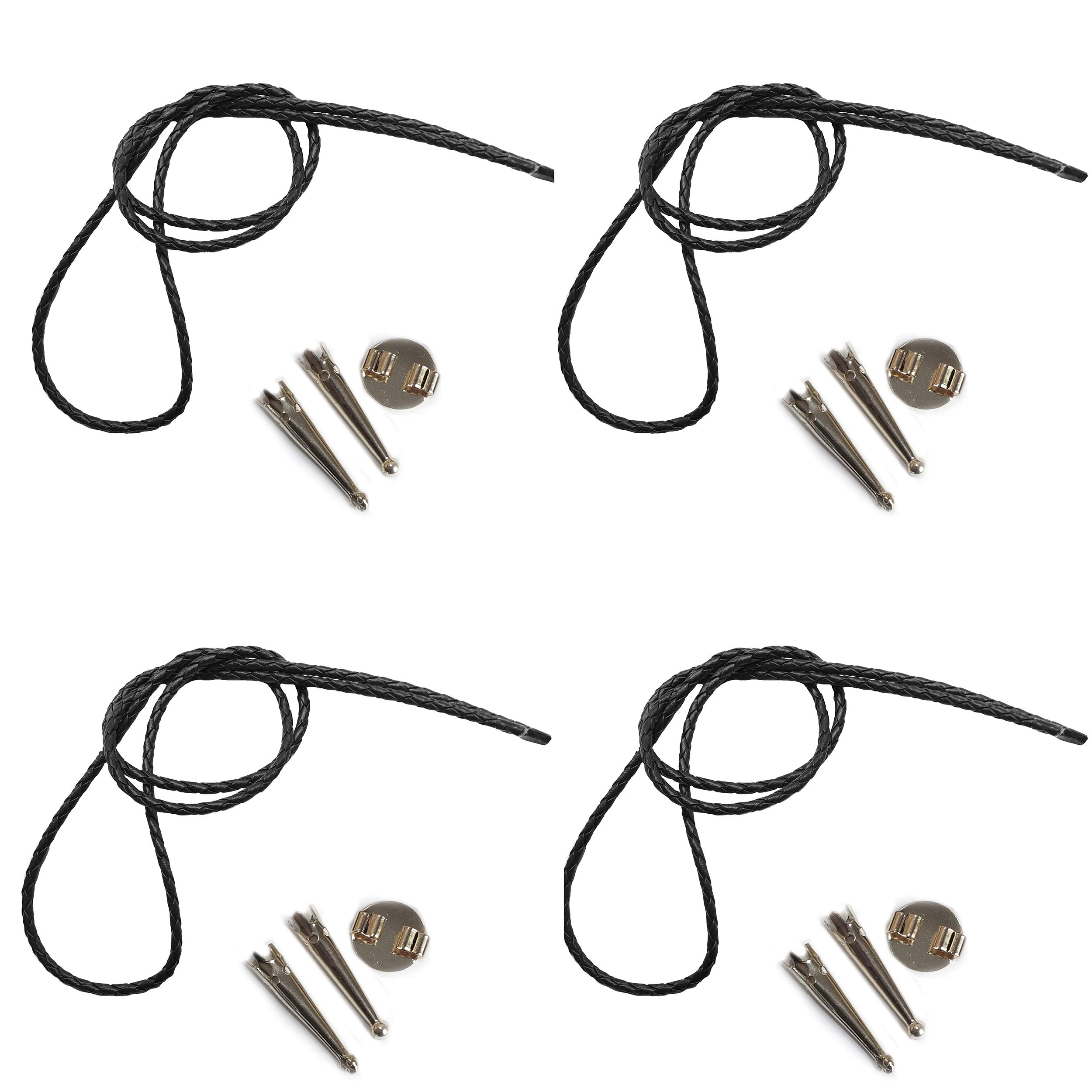 Blank Bolo String Tie Parts Kit Round Slide Smooth Tips Black Vinyl Braid DIY Silver Tone Supplies for 4 Ties