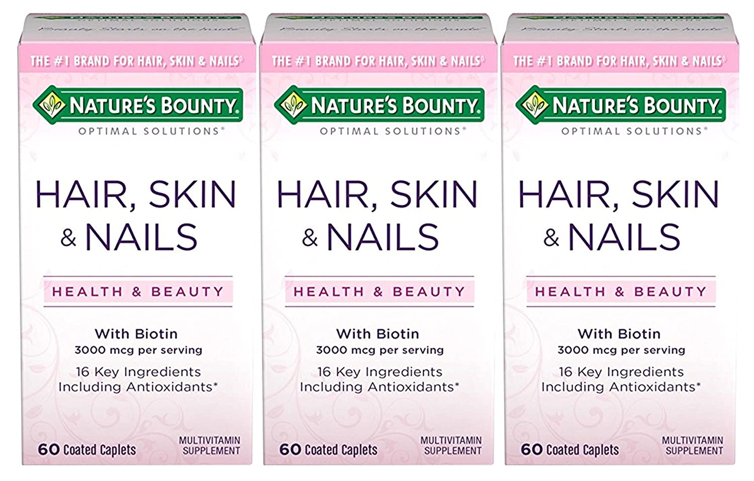 Nature S Bounty Optimal Solutions Hair Skin Nails Formula 180 Coated Caplets 3 X 60 Count